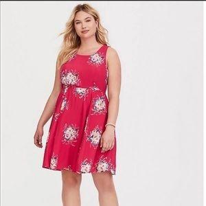 Torrid pink floral challis tie back dress sz 1